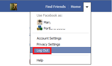 facebook log out