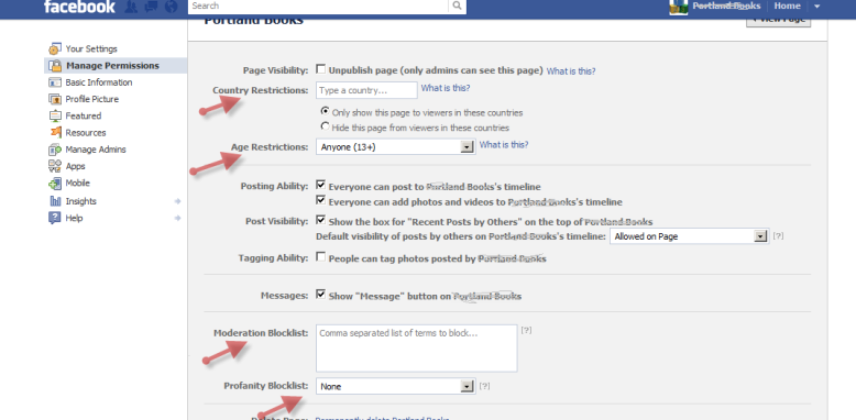 Facebook Manage Permissions Page